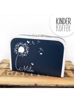 Kinderkoffer Koffer Pusteblume mit Schmetterlingen marineblau kos5a
