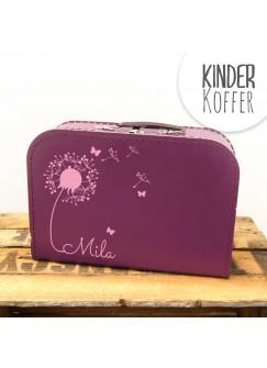 Kinderkoffer Koffer Pusteblume mit Schmetterlingen lila kos5d