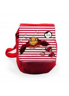 Kinderrucksack Schildkröte mit Fischen und Wunschnamen rot gestreift krk014