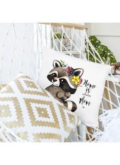 Kissen Dekokissen zum Muttertag Waschbär mit Blumenkranz und Spruch home is where mom is inklusive Füllung ks112