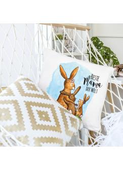 Kissen Dekokissen Muttertag mit Hasenfamilie & Spruch Beste Mama der Welt inklusive Füllung ks113