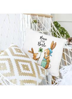 Kissen Dekokissen Muttertag mit Häschen Kleeblatt und Spruch Mama ist die Beste inklusive Füllung ks115