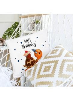 Kissen Dekokissen Geburtstag mit Schildkröte Cupcake Punkte und Spruch Happy Birthday inklusive Füllung ks126