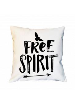 Kissen mit Vogel & Spruch Dekokissen Motto -free spirit- Motivkissen Zierkissen Spruchkissen inklusive Füllung ks136