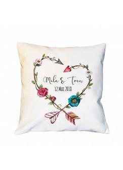 Kissen mit Blumen Herz mit Namen und Datum Dekokissen Hochzeit Motivkissen Zierkissen Spruchkissen inklusive Füllung ks142