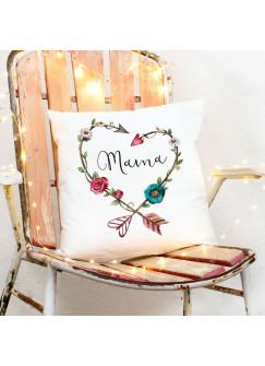 Kissen Muttertag mit Blumenherz Dekokissen Zierkissen bedruckt mit Spruch ..Mama.. Spruchkissen ks161