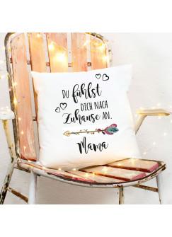 Kissen Muttertag mit Blumenpfeil Dekokissen Zierkissen bedruckt mit Spruch ..Zuhause.. Spruchkissen ks163