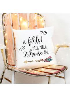 Kissen mit Blumenpfeil Dekokissen Zierkissen bedruckt mit Spruch ..Zuhause.. Spruchkissen ks165