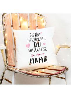 Kissen Muttertag mit Pfeil & Herzen Dekokissen Zierkissen bedruckt mit Spruch ..Mama.. Spruchkissen ks166