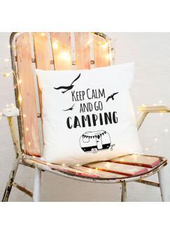 Kissen Wohnwagen Möwen & Spruch Dekokissen Zierkissen bedruckt mit Zitat Motto keep calm & go camping ks172