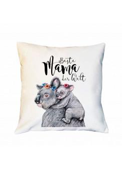 Kissen Muttertag mit Koalas Dekokissen Zierkissen bedruckt mit Spruch Beste Mama der Welt Spruchkissen ks180