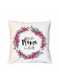 Kissen Muttertag mit Blumenkranz Dekokissen Zierkissen bedruckt mit Spruch Beste Mama der Welt Spruchkissen ks181