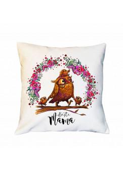 Kissen Muttertag mit Eulen Eulchen & Blumenkranz Dekokissen Zierkissen bedruckt mit Spruch Beste Mama Spruchkissen ks182
