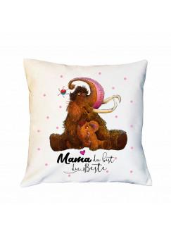 Kissen Muttertag mit Mammut & Punkte Dekokissen Zierkissen bedruckt mit Spruch Mama du bist die Beste Spruchkissen ks184