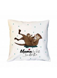 Kissen Muttertag mit Otter & Punkte Dekokissen Zierkissen bedruckt mit Spruch Mama du bist die Beste Spruchkissen ks186