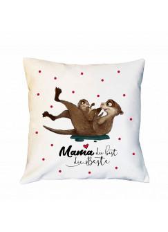 Kissen Muttertag mit Otter & Punkte rot Dekokissen Zierkissen bedruckt mit Spruch Mama du bist die Beste Spruchkissen ks187