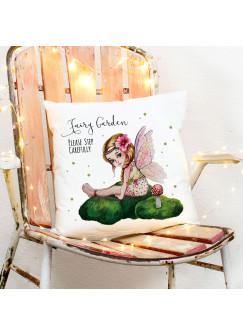 Kissen Dekokissen Zierkissen bedruckt Fee auf Moos mit Spruch fairy garden please step carefully inklusive Füllung ks194