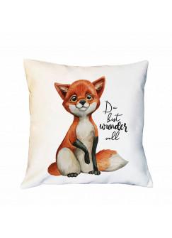 Kissen mit Fuchs und Spruch Du bist wundervoll inklusive Füllung Dekokissen Zierkissen bedruckt ks215