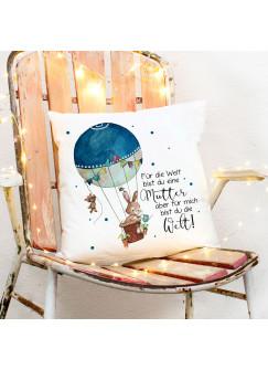 Kissen Hase im Ballon & Spruch Mutter für mich bist du die Welt inklusive Füllung Dekokissen Zierkissen bedruckt ks219