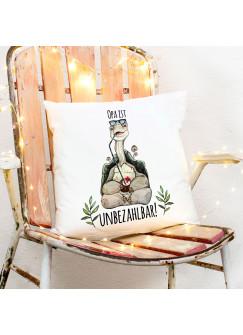Kissen mit Schildkröte Dekokissen Zierkissen bedruckt mit Spruch Opa ist unbezahlbar Spruchkissen Geschenk ks222