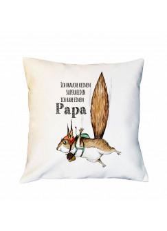 Kissen mit Flughörnchen Dekokissen Zierkissen bedruckt mit Spruch Superhelden Papa Spruchkissen ks224