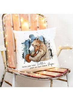 Kissen mit Bär & Eichhörnchen Dekokissen Zierkissen bedruckt mit Spruch Hinter Tochter toller Papa Spruchkissen Geburtstag ks226