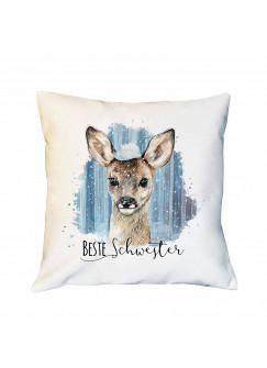 Kissen mit Reh Rehkitz im Schnee Dekokissen Zierkissen bedruckt mit Spruch Beste Schwester Spruchkissen ks230