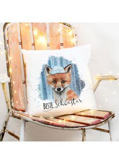 Kissen mit Fuchs im Schnee Dekokissen Zierkissen bedruckt mit Spruch Beste Schwester Spruchkissen ks231