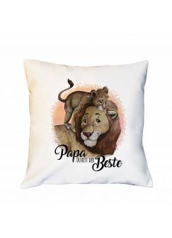 Kissen mit Löwen Löwenjunges Dekokissen Zierkissen bedruckt mit Spruch Papa der Beste Spruchkissen ks237