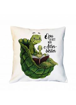 Kissen mit Schildkröte & Spruch Opa du bist mein Allerbester inklusive Füllung Dekokissen Zierkissen bedruckt ks241