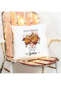 Kissen mit Eulen Pärchen Spruch Scheiß auf Valentinstag - Ich liebe Dich jeden Tag inkl Füllung Dekokissen Wunschname ks270