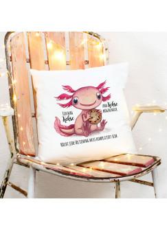 Kissen mit Axolotl Spruch Ich mag Kekse und Kekse mögen mich inkl Füllung Dekokissen Geschenk ks275