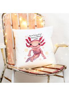 Kissen mit Axolotl Spruch Wenn mir langweilig ist, fange ich an seltsam zu werden inkl Füllung Dekokissen Geschenk ks276