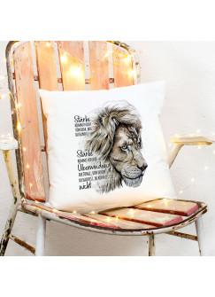 Kissen mit Löwe Löwenkopf Spruch Stärke kommt von Überwindung inkl Füllung Dekokissen Geschenk ks277