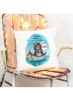 Kissen mit Kater Katze Kätzchen Angelkater Angel Spruch Fischlein beiße sonst scheiße inkl Füllung Dekokissen Zierkissen ks291
