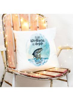 Kissen mit Meerforelle Lachsforelle Fisch Spruch Es gibt Wichtigeres als angeln inkl Füllung Dekokissen Zierkissen ks292