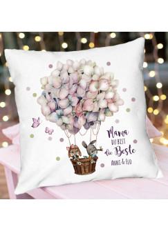 Kissen mit Spruch Mama du bist du Beste Hase Häschen Hortensienballon Wunschname inkl Füllung Dekokissen Zierkissen Motto bedruckt ks338