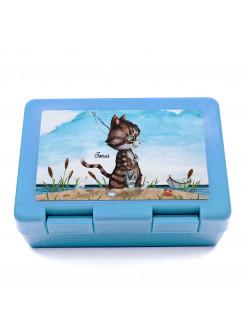 Lunchbox Brotdose blau mit Katze Kater Angelkater & Name Wunschname Geschenk Einschulung Schule Kindergarten LB11