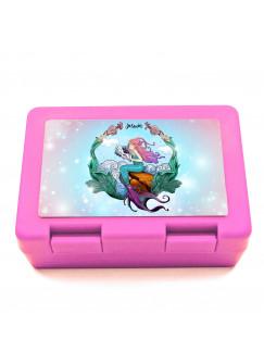 Lunchbox Brotdose rosa mit Meerjungfrau auf Muschel & Name Wunschname Geschenk Einschulung Schule Kindergarten LB12