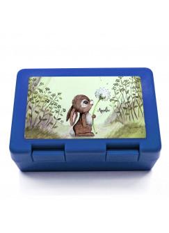 Lunchbox Brotdose blau Hase Häschen mit Pusteblume & Name Wunschname Geschenk Einschulung Schule Kindergarten LB14