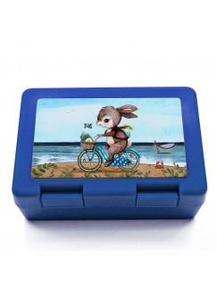 Lunchbox Brotdose blau Hase Häschen auf Fahrrad & Name Wunschname Geschenk Einschulung Schule Kindergarten LB15