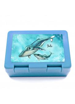 Lunchbox Brotdose blau Wal mit Junges Jungtier & Name Wunschname Geschenk Einschulung Schule Kindergarten LB16