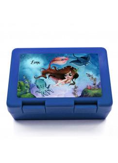 Lunchbox Brotdose in blau Meerjungfrau mit Freunde & Name Wunschname Geschenk Schulstart Schule Kindergarten LB19