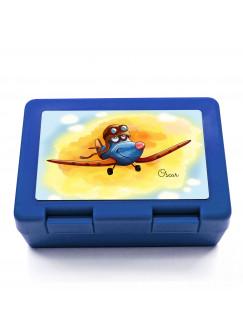 Lunchbox Brotdose mit Flugzeug über den Wolken und Wunschnamen LB02