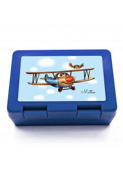 Lunchbox Brotdose mit Flugzeug über den Wolken Eulchen und Wunschnamen LB03