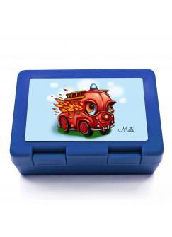 Lunchbox Brotdose mit Feuerwehrauto und Wunschnamen LB04