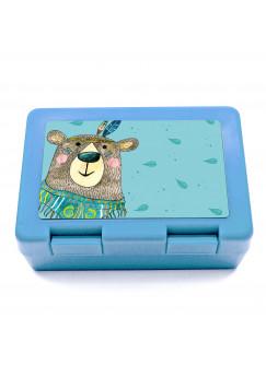 Lunchbox Brotdose Boho Bär mit Federn und Wunschnamen LB06