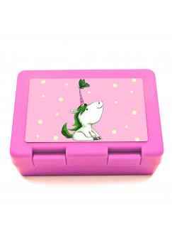 Lunchbox Brotdose Einhorn mit Schmetterling Punkten und Wunschnamen LB07
