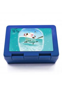 Lunchbox Brotdose schwimmendes Schweinchen mit Punkten und Wunschnamen LB09