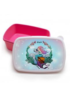 Lunchbox Brotdose rosa Meerjungfrau auf Muschel mit Wunschname Geschenk Einschulung Kindergarten LBr12